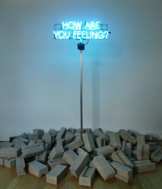 Thought Piece (How are you feeling?), 2013 - Neon, steel, concrete, motion sensors, vinyl, neurons, electrical impulses - Edition of 2 - 171 x 68 cm (installation dimensions variable)
