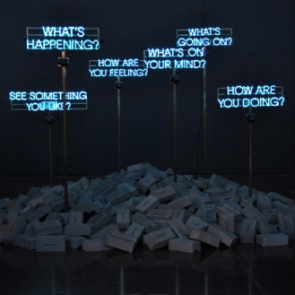 Thought Piece, 2013 - Neon, steel, concrete, motion sensors, vinyl, neurons, electrical impulses - Edition of 2 - 210 x 350 x 370 cm (installation dimensions variable)