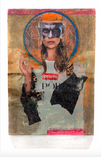 "Rodríguez Calero, Our Lady of Pop, 2013, mixed media on paper 491⁄2""x 30"""