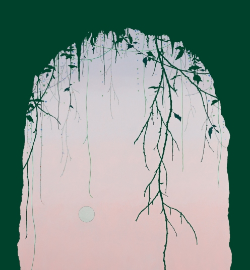 Cave and Moon, 2015, oil, pencil and enamel on canvas, 140 x 130 cm