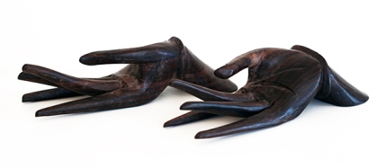 HAND CARVED WOODEN HANDS x2 (INDONESIA)
