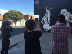 Kaff.eine, Geloy Concepcion and Geric Cruz photographing the completed mural outside of James Makin Gallery, Collingwood, Melbourne.