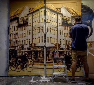 KIRPY, 'Rosenthaler Platz - Diptych' Mixed Media - Hand painted 16 layer stencil with spray and acrylic on cardboard 280 x 236cm