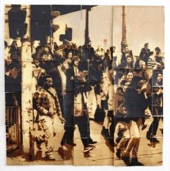 KIRPY, 'Crowds (Left)' Mixed Media - Spray paint on found cardboard 200 x 200cm Edition Length: 1