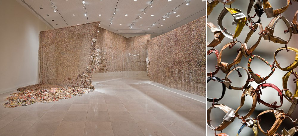 El Anatsui, Gli (Wall), 2010, Aluminum and copper wire; Dimensions variable Installation at Rice University Art Gallery Photo © Nash Baker Courtesy the artist and Jack Shainman Gallery, New York © El Anatsui