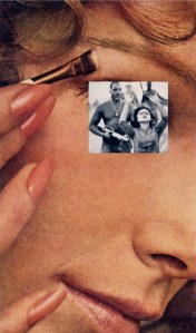 Martha Rosler, Makeup Hands Up from House Beautiful: Bringing the War Home, 1967–1972. Photomontage.